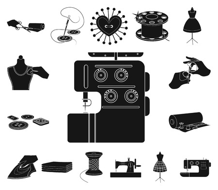 Atelier and equipment black icons in set collection for design. Sewing of outer clothing vector symbol stock web illustration.