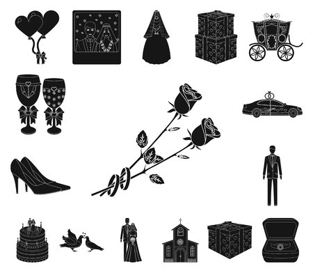 Wedding and Attributes black icons in set collection for design. Newlyweds and Accessories vector symbol stock web illustration.  イラスト・ベクター素材