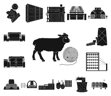 Textile industry black icons in set collection for design.Textile equipment and fabrics vector symbol stock web illustration. Vector Illustration