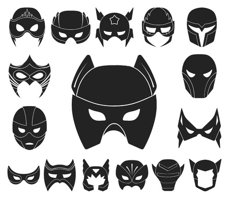 Carnival mask black icons in set collection for design.Mask on the eyes and face vector symbol stock web illustration. 일러스트