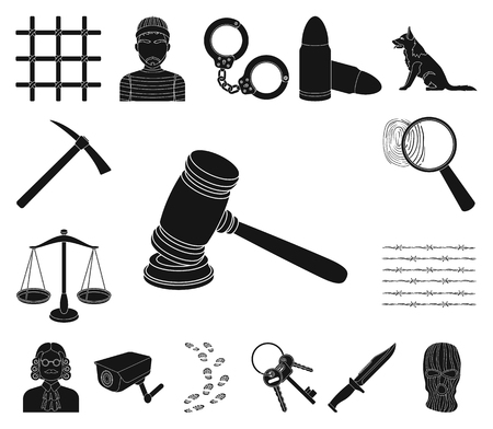Prison and the criminal black icons in set collection for design.Prison and Attributes vector symbol stock illustration.