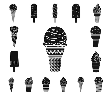 Different ice cream black icons in set collection for design. Dessert and sweetness vector symbol stock web illustration.