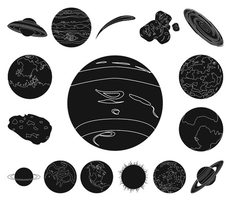 Planets of the solar system black icons in set collection for design. Cosmos and astronomy vector symbol stock web illustration.
