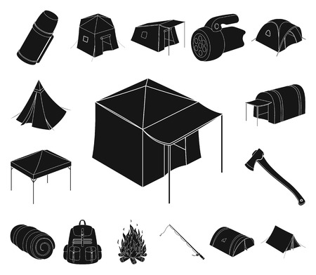 Different kinds of tents black icons in set collection for design. Temporary shelter and housing vector symbol stock web illustration.