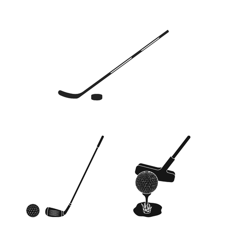 Vector illustration of stick and field icon. Collection of stick and club stock symbol for web.