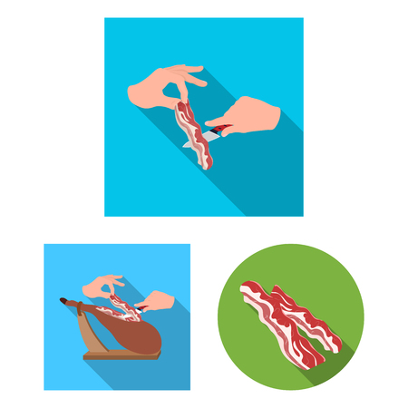 Vector design of bacon and breakfast sign. Collection of bacon and cooked stock symbol for web.