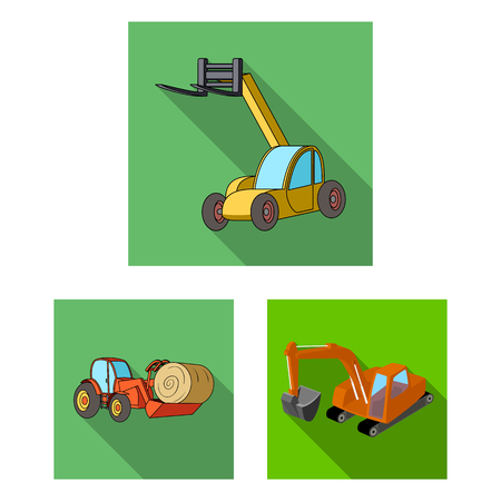Illustrazione vettoriale del logo anteriore ed escavatore. Insieme di simbolo di borsa anteriore e secchio per il web.