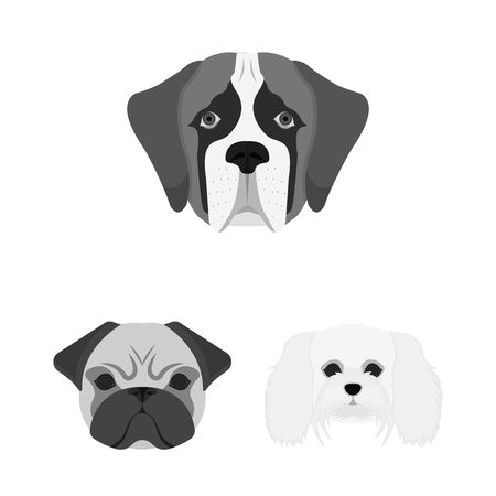 Vector design of cute and puppy icon. Set of cute and animal vector icon for stock.