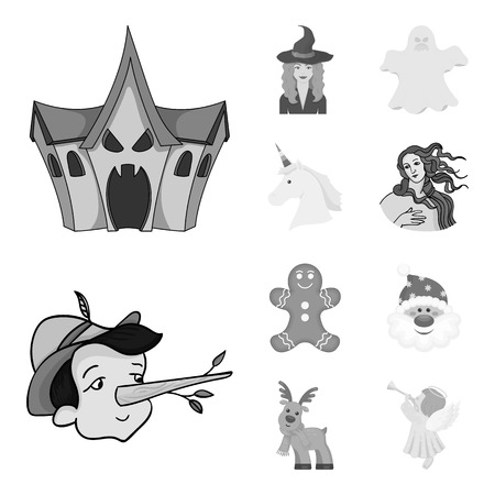Vector design of tale and character icon. Set of tale and cute vector icon for stock.
