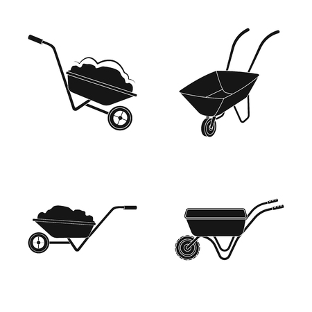 Isolated object of wheelbarrow and dirt symbol. Collection of wheelbarrow and barrow stock symbol for web. Illustration