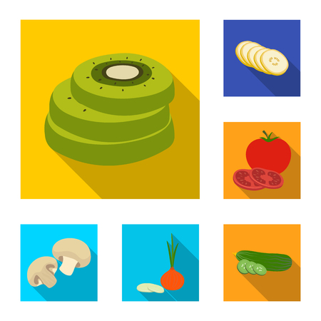 Isolated object of vegetable and fruit logo. Set of vegetable and food vector icon for stock. Illustration