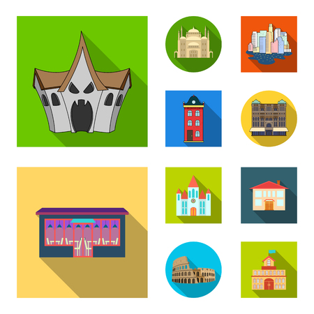 Isolated object of building and city icon. Set of building and business stock vector illustration. Ilustracja