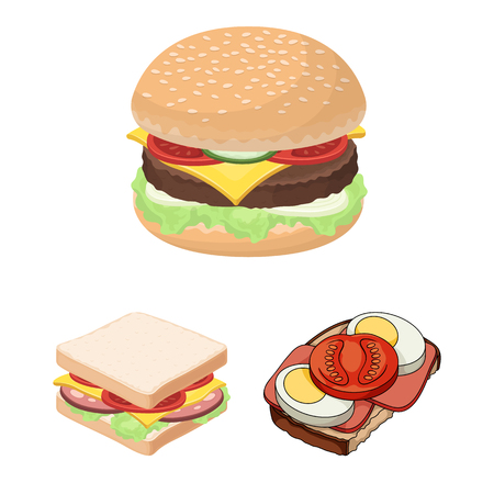 Vector illustration of sandwich and wrap symbol. Set of sandwich and lunch vector icon for stock.