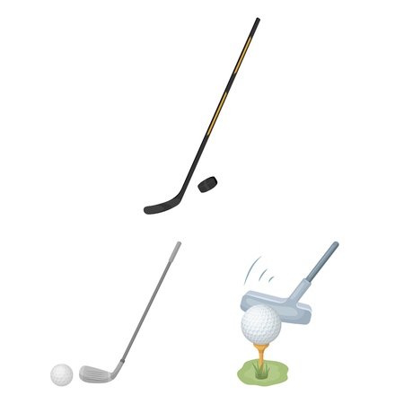 Vector illustration of stick and field logo. Collection of stick and club stock symbol for web.