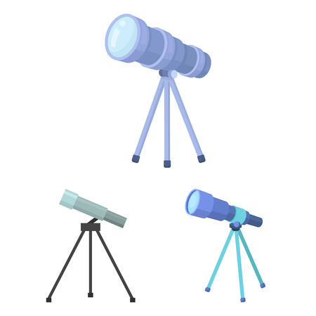 Vector illustration of telescope and binoculars logo. Collection of telescope and history stock symbol for web.