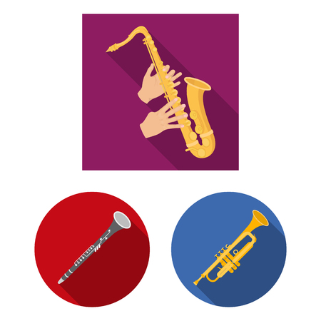 Vector design of trumpet and brass icon. Set of trumpet and saxophone stock vector illustration.