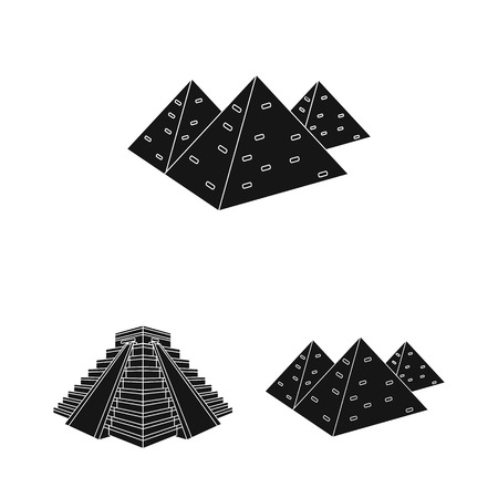Isolated object of pyramid and egypt symbol. Collection of pyramid and egypt vector icon for stock.