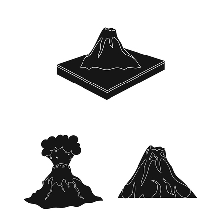 Vector design of volcano and lava icon. Set of volcano and magma stock symbol for web.