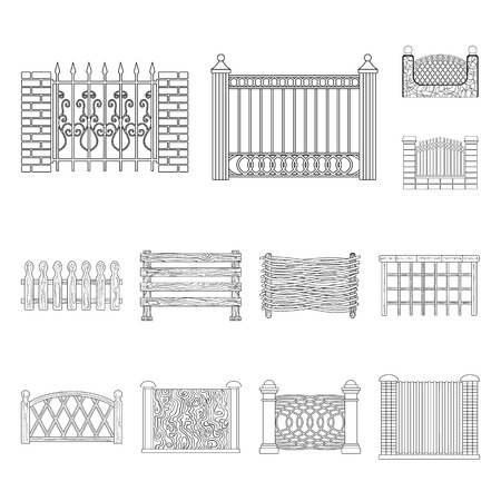 Vector design of gate and fence sign. Collection of gate and wall vector icon for stock. Vectores