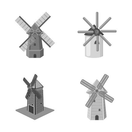 Vector illustration of landscape and village symbol. Set of landscape and farm stock symbol for web. Reklamní fotografie - 113332395