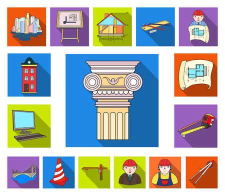 Architecture and construction flat icons in set collection for design. Architect and equipment vector symbol stock web illustration.  イラスト・ベクター素材