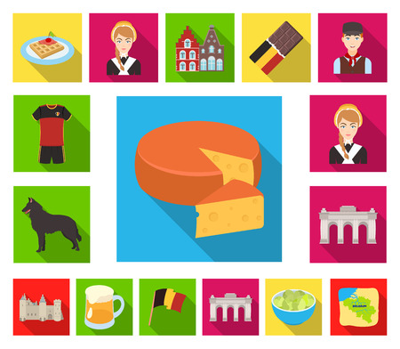 Country Belgium flat icons in set collection for design.Travel and attractions Belgium vector symbol stock web illustration.