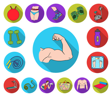 Icone piane di fitness e attributi nella raccolta di set per il design. Attrezzature per il fitness simbolo d'archivio web illustrazione di vettore.