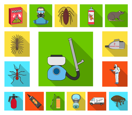 Pest, poison, personnel and equipment flat icons in set collection for design. Pest control service vector symbol stock web illustration. Ilustración de vector