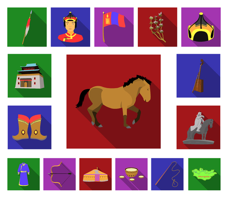 Country Mongolia flat icons in set collection for design.Territory and landmark vector symbol stock  illustration. Vettoriali