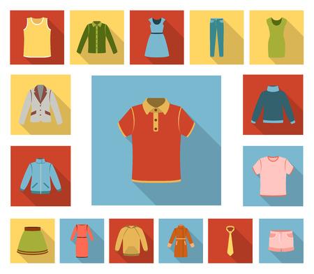 Diversi tipi di vestiti icone piane nella raccolta di set per il design. Illustrazione di web di simbolo di vettore di vestiti e stile. Vettoriali