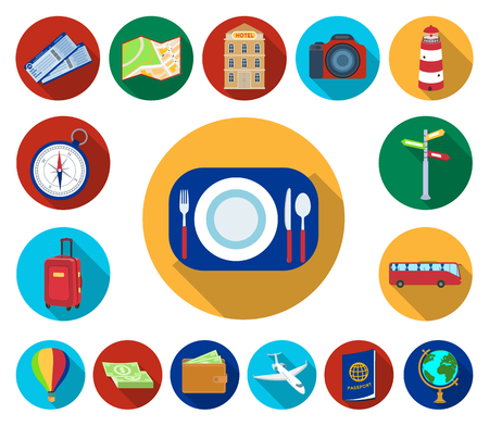 Rest and travel flat icons in set collection for design. Transport, tourism vector symbol stock  illustration. Ilustracja