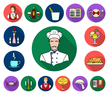 Restaurant and bar flat icons in set collection for design. Pleasure, food and alcohol vector symbol stock illustration.