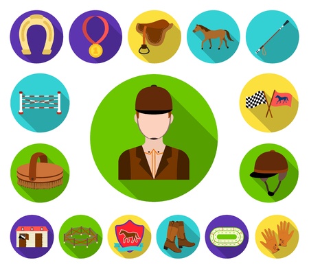 Hippodrome and horse flat icons in set collection for design. Horse Racing and Equipment vector symbol stock illustration.