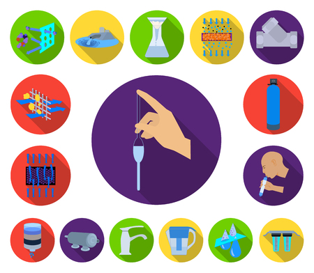 Water filtration system flat icons in set collection for design. Cleaning equipment vector symbol stock  illustration. Stock Vector - 113335262