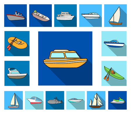 Water and sea transport flat icons in set collection for design. A variety of boats and ships vector symbol stock illustration.