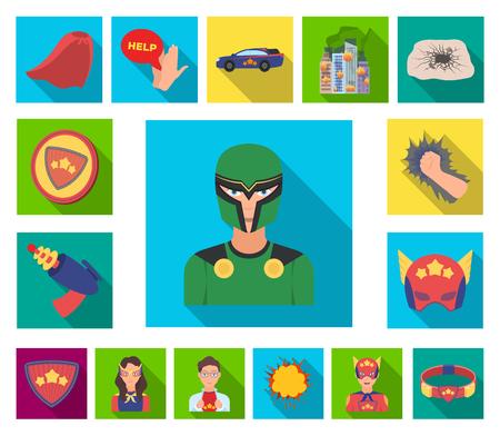 A fantastic superhero flat icons in set collection for design. Superhero's equipment vector symbol stock  illustration. Stock Vector - 113335504
