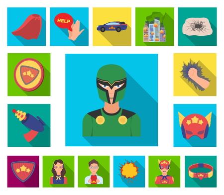 A fantastic superhero flat icons in set collection for design. Superheros equipment vector symbol stock  illustration. Illustration