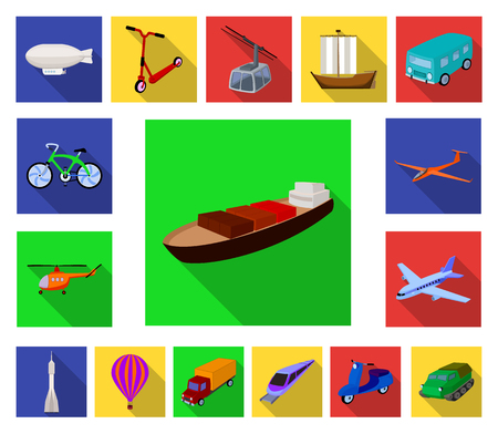 Diferentes tipos de iconos planos de transporte en conjunto para el diseño. Coche y barco vector símbolo stock ilustración. Ilustración de vector