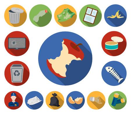 Ordures et déchets icônes plates dans la collection de jeux pour la conception. Nettoyage des ordures vecteur symbole stock illustration.