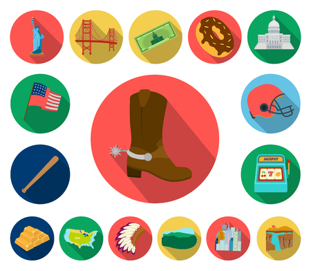 USA country flat icons in set collection for design.Travel and attractions vector symbol stock  illustration.