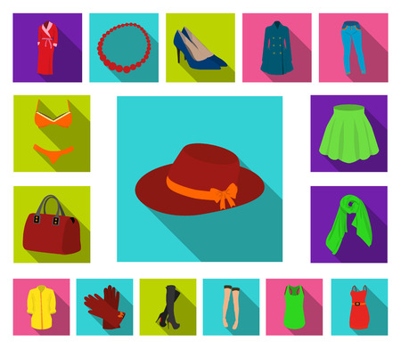 Womens Clothing flat icons in set collection for design.Clothing Varieties and Accessories vector symbol stock  illustration.