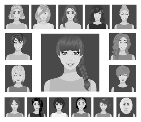 Types of female hairstyles flat icons in set collection for design. Appearance of a woman vector symbol stock illustration. Иллюстрация