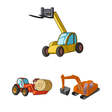 Vector illustration of front and excavator icon. Collection of front and bucket stock vector illustration.