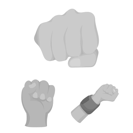 Vector illustration of fist and punch logo. Set of fist and hand vector icon for stock.