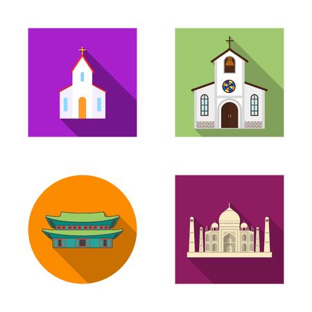 Vector illustration of religion and wedding logo. Set of religion and house vector icon for stock. Logos