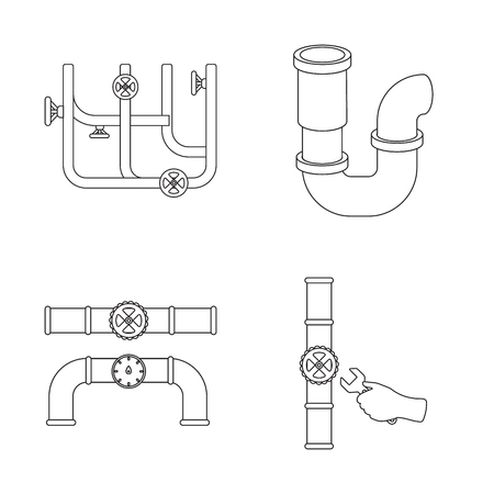 Vector design of pipe and plumbing sign. Collection of pipe and metal vector icon for stock.