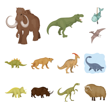 Isolated object of animal and character icon. Set of animal and ancient  stock symbol for web.