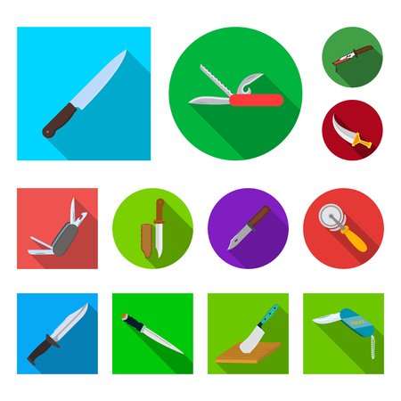 Vector design of knife and cut icon. Set of knife and flat vector icon for stock.