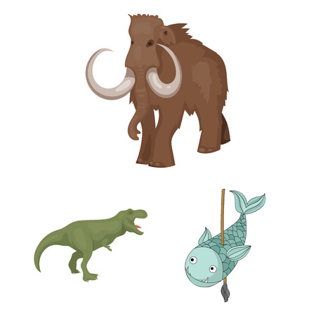 Isolated object of animal and character icon. Set of animal and ancient  stock vector illustration. 일러스트
