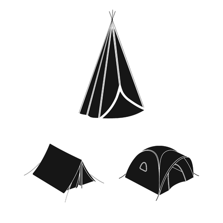 Vector design of tent  and camp sign. Set of tent  and forest vector icon for stock.